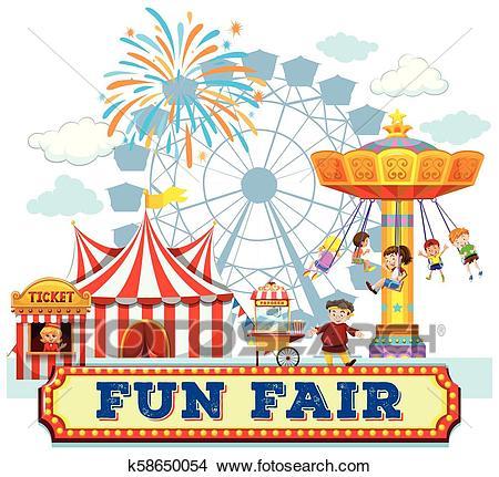 A Fun Fair and Rides Clipart.