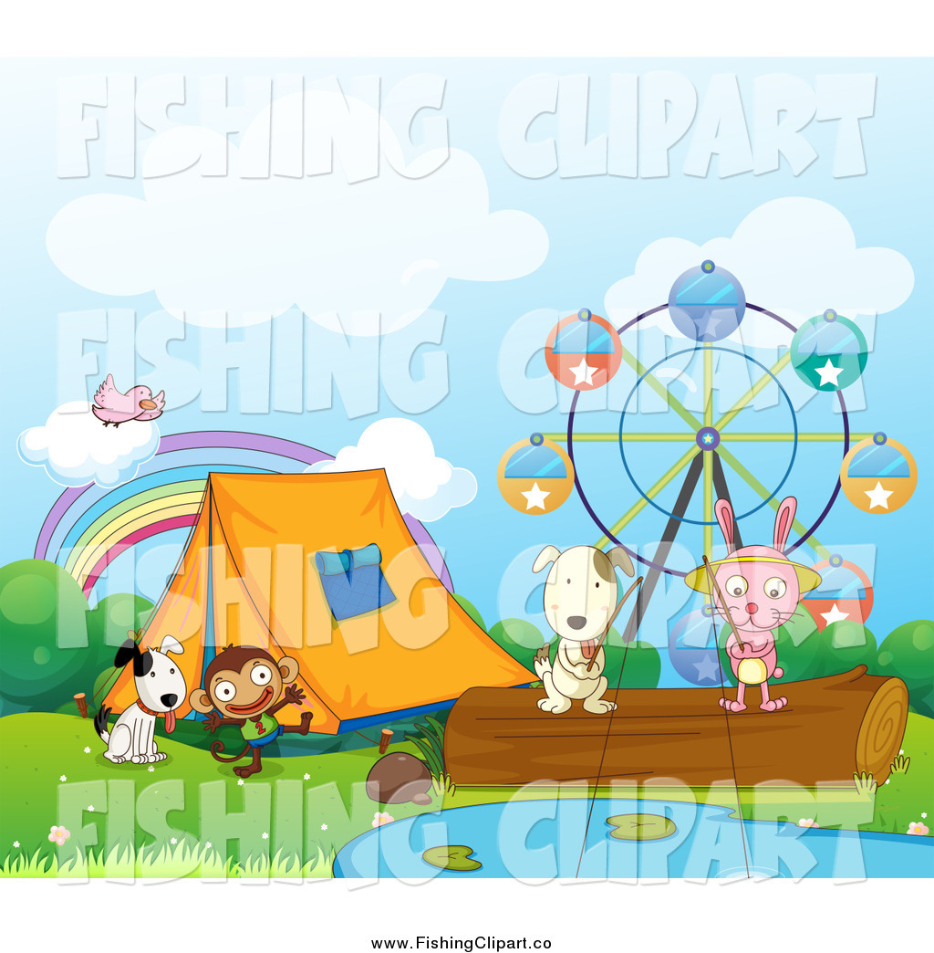 Clip Art of a Rabbit and Dog Fishing by Fairgrounds and Tent with.