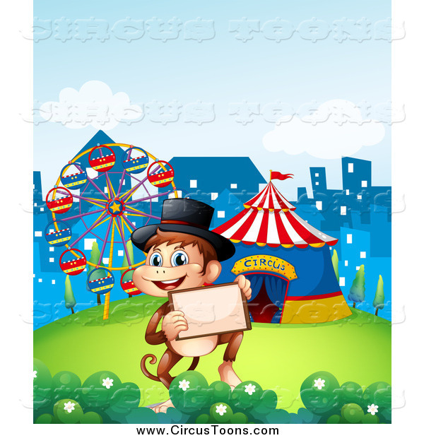 Circus Clipart of a Monkey Holding a Picture Frame at Fairgrounds.