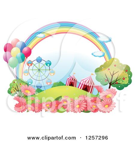 Cartoon of a Rainbow Over Fairgrounds and Flowers.