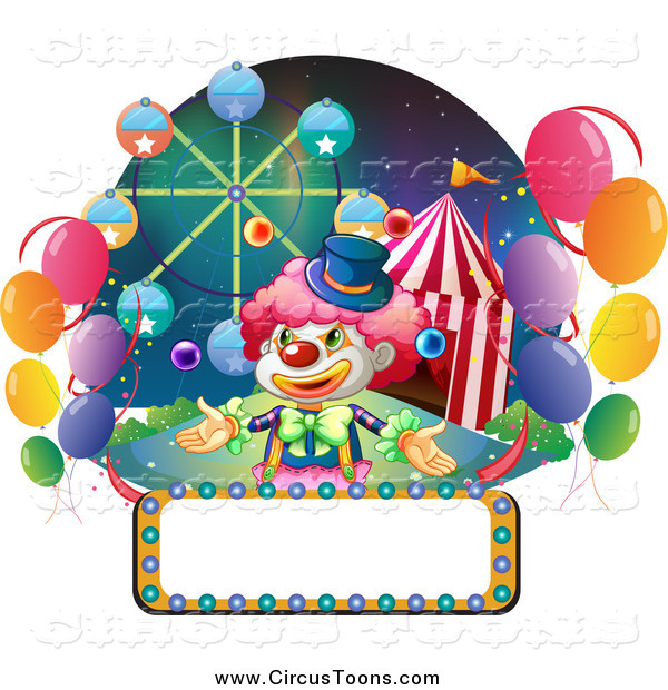 Circus Clipart of a Bulb Sign with a Juggling Clown and.