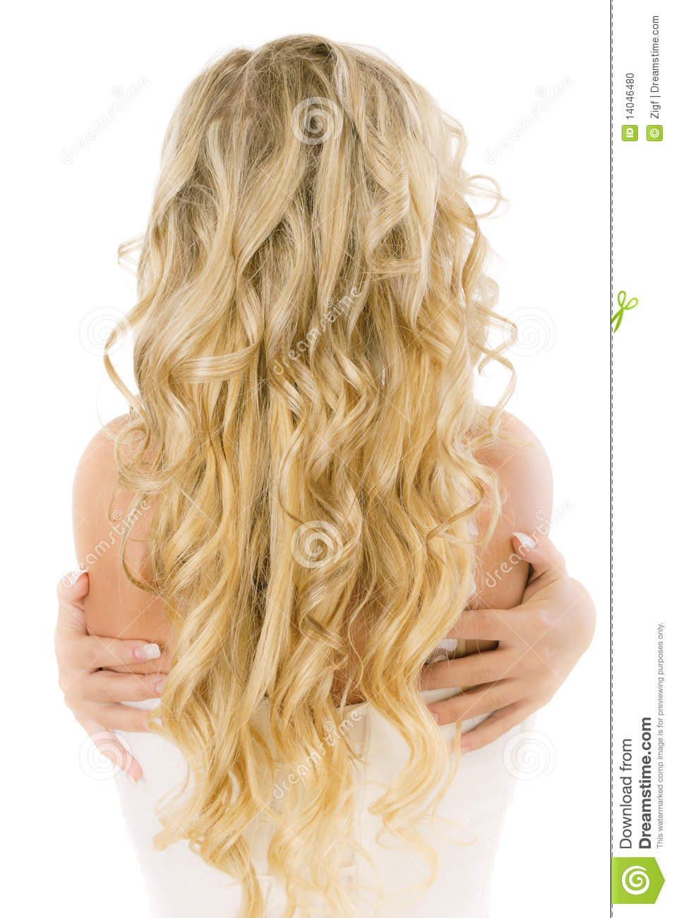 Bride With Long Fair Hair From Back Stock Photo.
