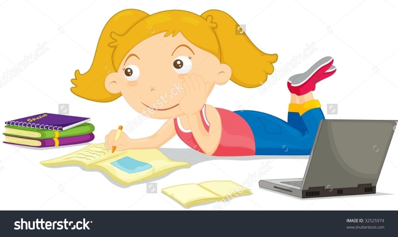 Fair Haired Girl Doing Homework Stock Vector 32525974.