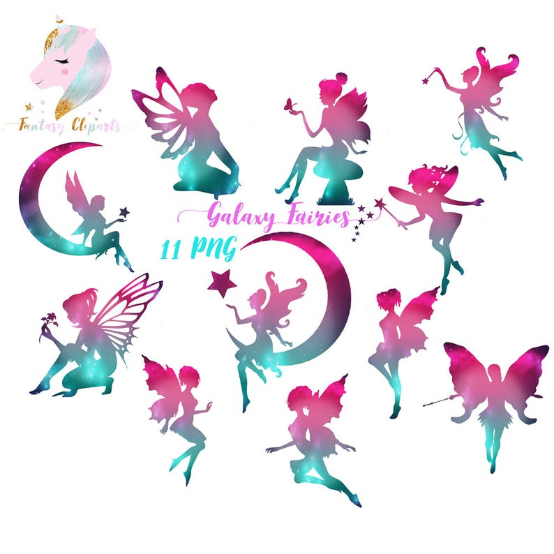 Galaxy fairies, fairy clipart, cosmic clip art, rainbow fairy tale, fairies  clipart, magic wand, fairy on the moon, magical fairies,.