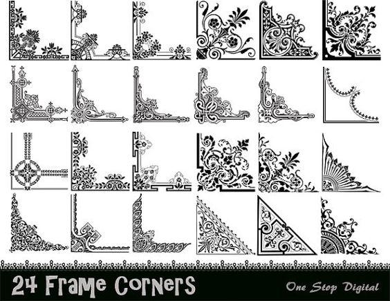 Instant Download: 24 Digital Vintage Frame Corner Ornate Flourish.