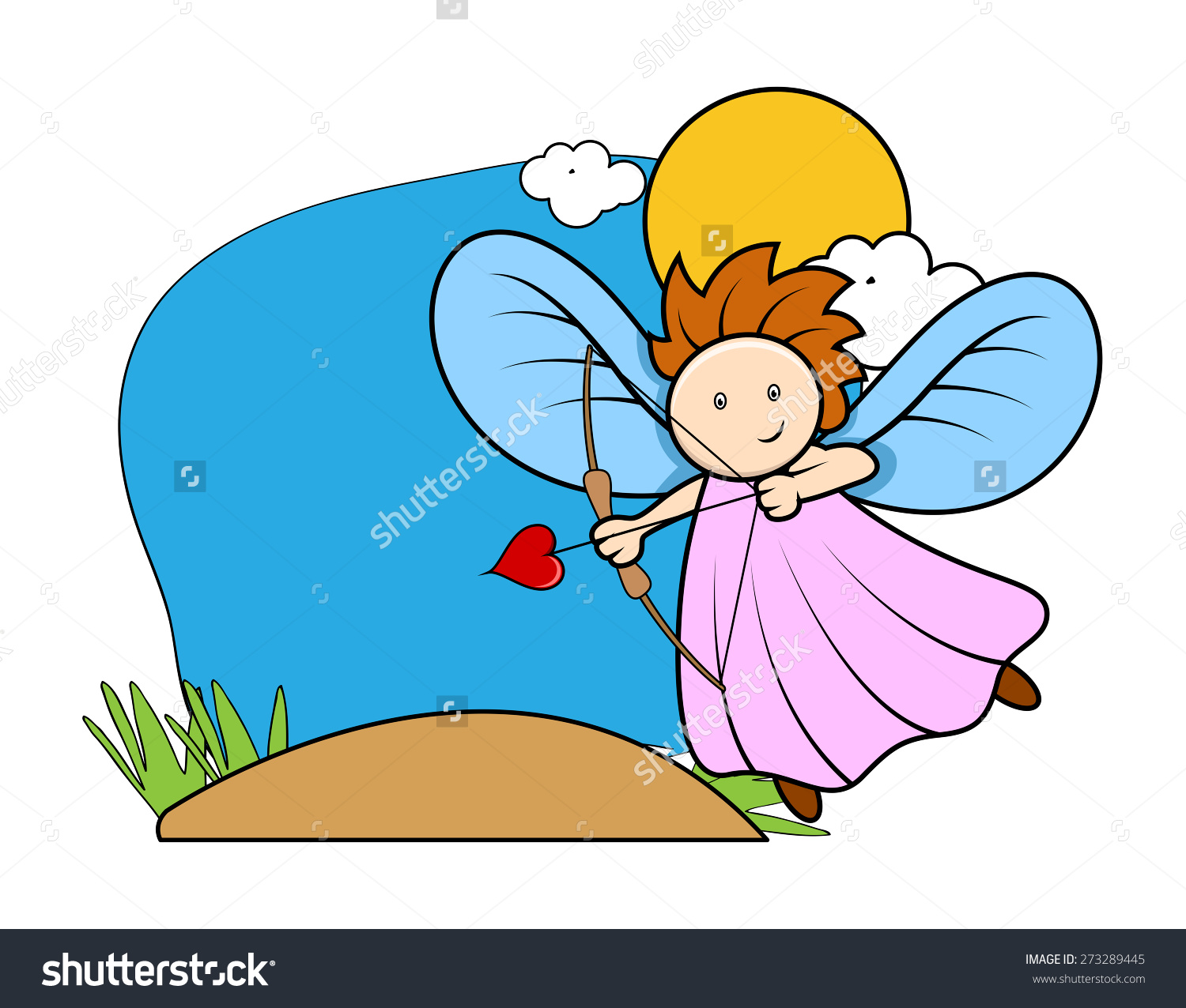 Cartoon Fairy Cupid Girl Target Bow Stock Vector 273289445.