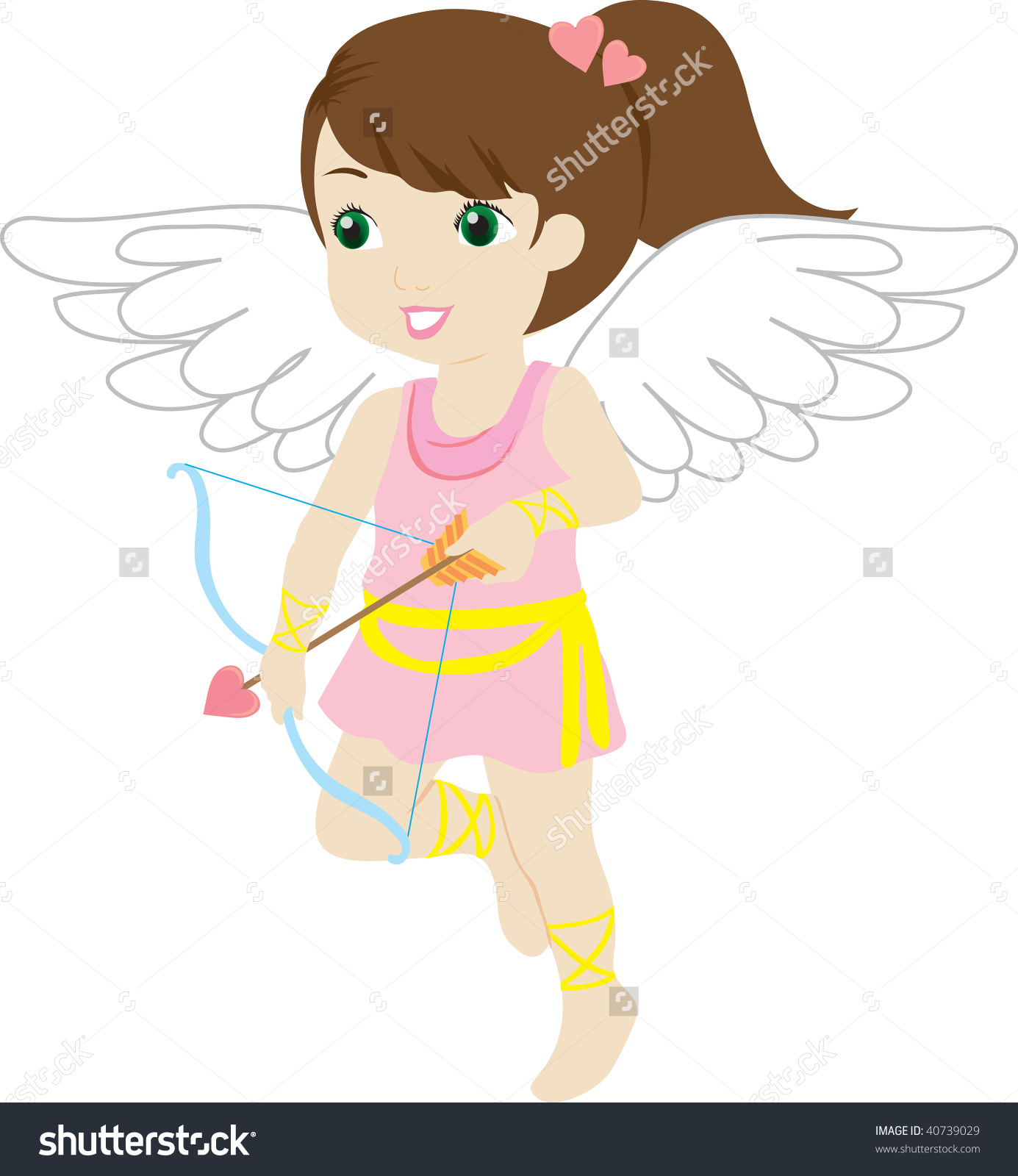 Clip Art Illustration Of A Little Girl Cherub Dressed In Pink And.