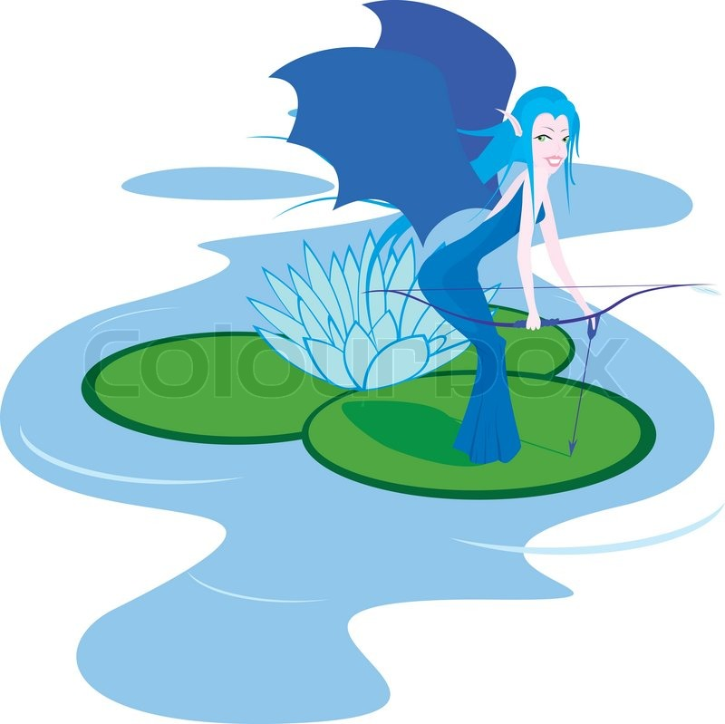 Isolated illustration of water fairy with bow.
