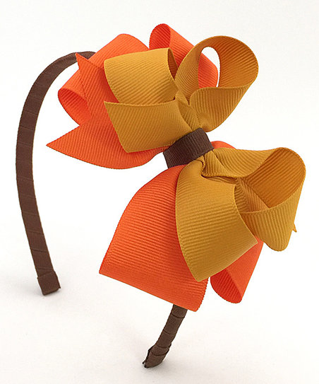 Fairy Bow Mother Brown & Orange Bow Headband.