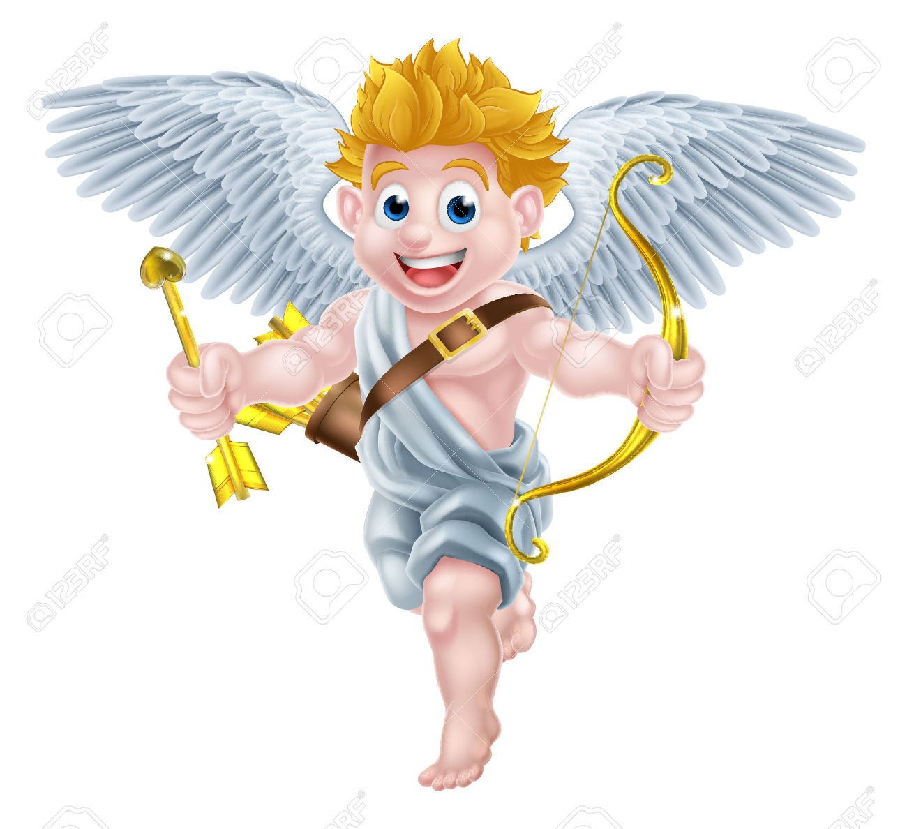 Cartoon Valentines Day Cupid Winged Angel Character Holding His.