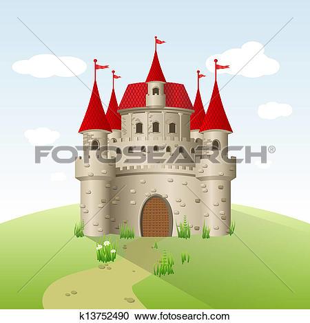 Clipart of Fairytale castle kingdom cartoon style k9233121.