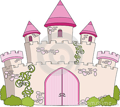 Magical Fairytale Pink Castle With Flags Stock Photography.