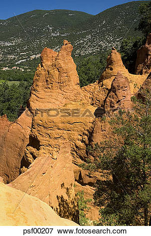 Picture of France, Provence, Colorado Provencal, Fairy chimneys.