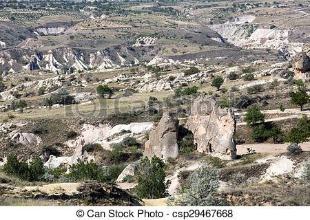 Stock Image of Stone formations, Fairy Chimneys in Cappadocia.
