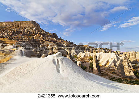 Stock Image of Fairy chimneys in the rugged, barren landscape.