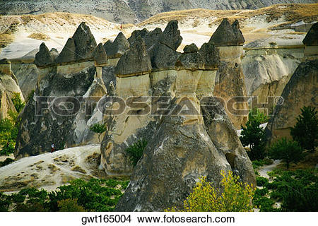 Stock Photo of High angle view of rock formations, Fairy Chimneys.