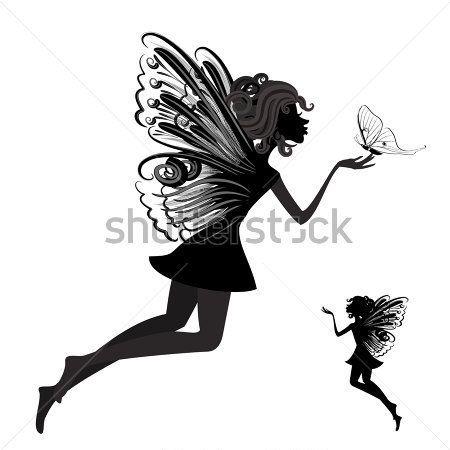 Silueta De Un Hada Con Mariposa Im Genes Predise Adas Clip Arts.