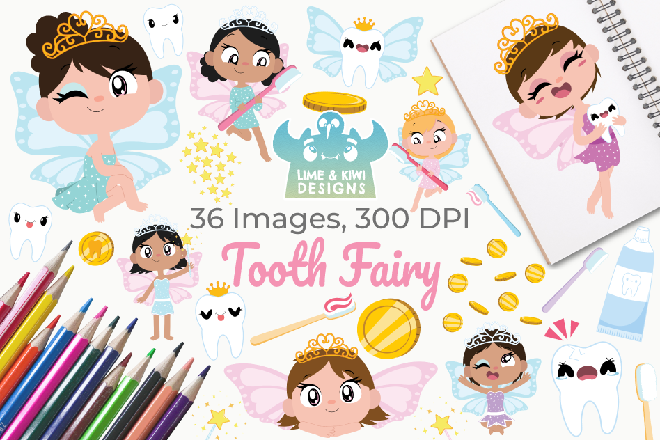 Tooth Fairy Clipart, Instant Download Vector Art.