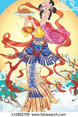 Clip Art of Asian Fairy Lady.