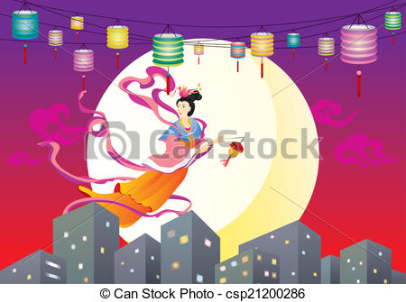 Vector Clip Art of Chinese Fairy flying to the moon il.