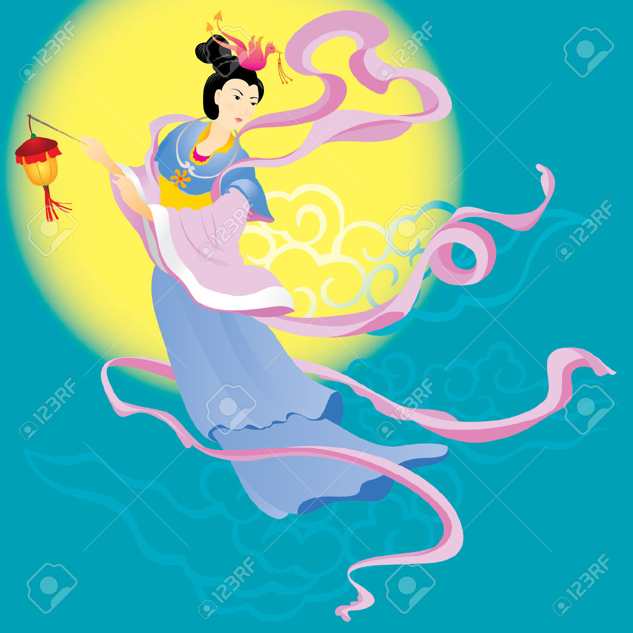 Chinese Fairy Flying To The Moon For Celebrate The Mid Autumn.