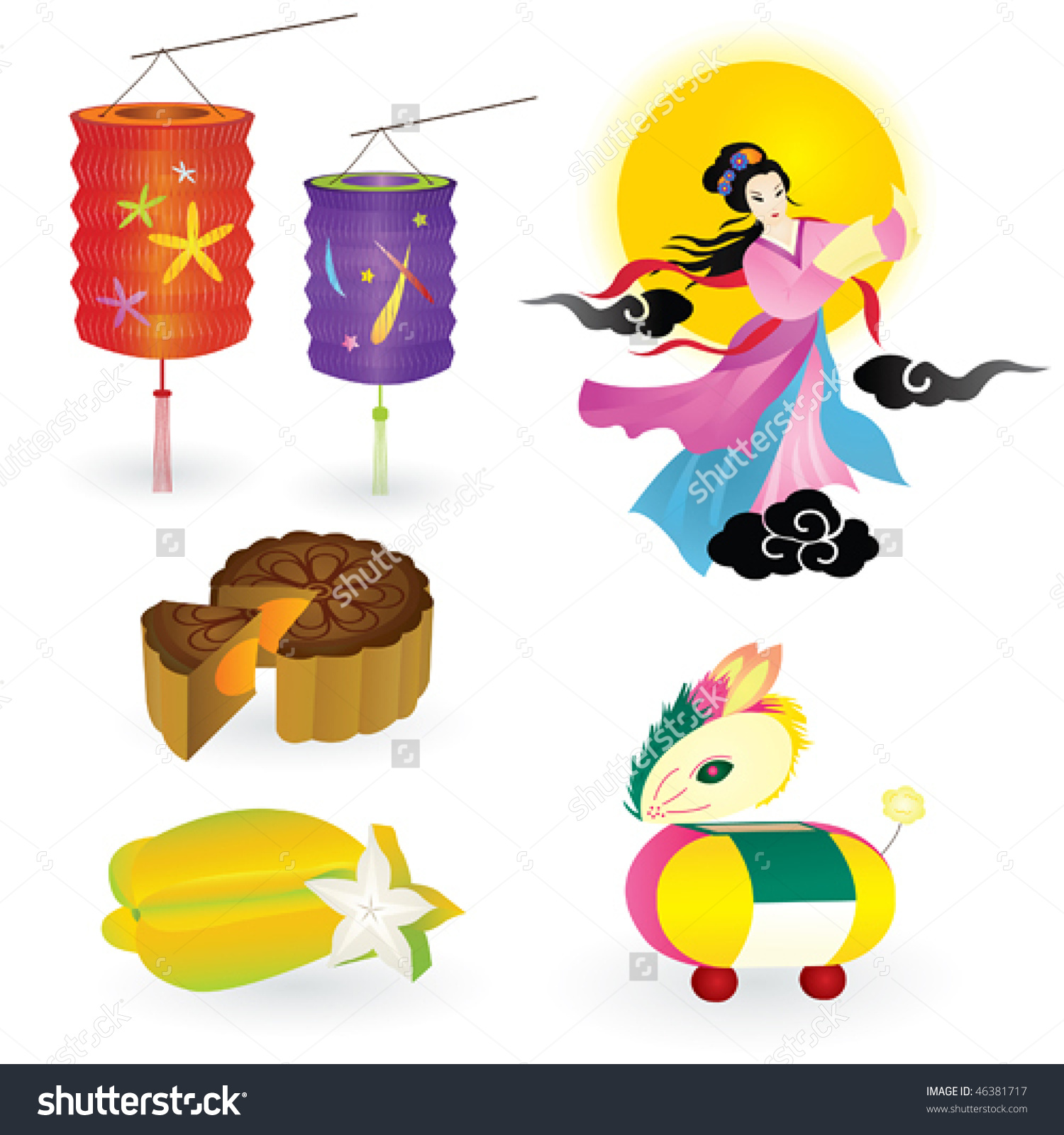 Traditions Chinese Mid Autumn Festival Including Stock Vector.