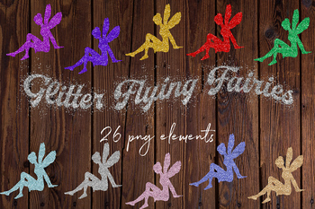 Glitter Flying Fairies, Sparkle Flying Fairy Clipart, 26 PNG Glitter Fairies.