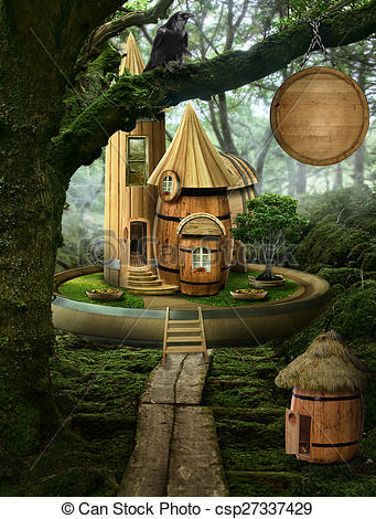 Clip Art of fairy house ( barrel).