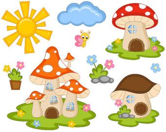 Cute Fairy Tail Mushroom Houses Clip Art, Sun, Cloud, Flowers.