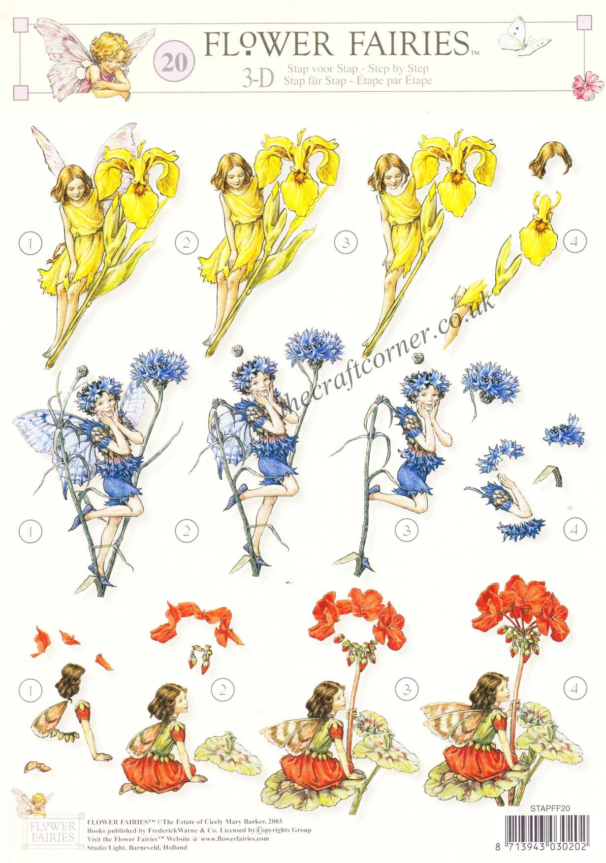 Flower Fairy 20 Geranium Iris and Cornflower Fairies by Cicely.