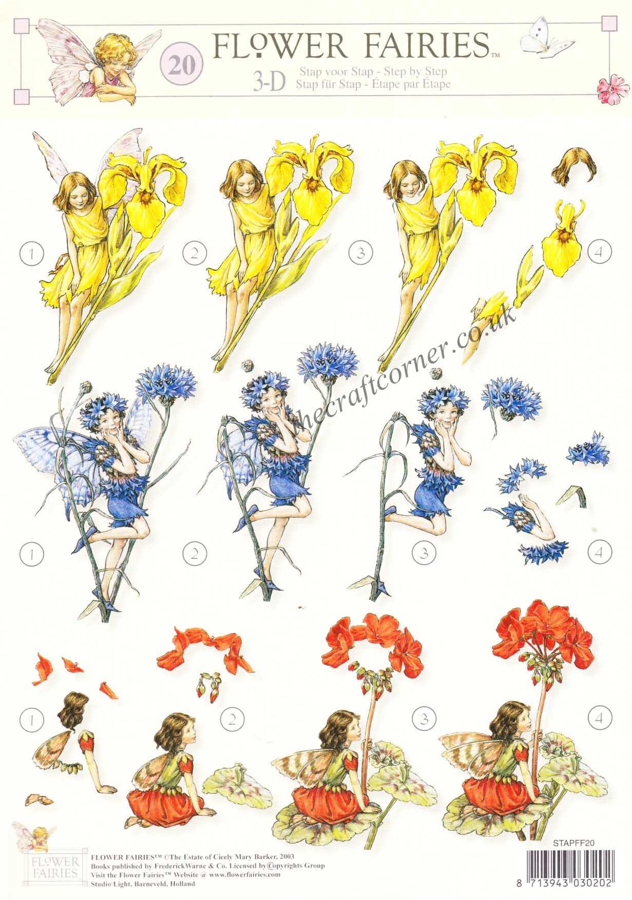 Flower Fairy 20 Geranium Iris and Cornflower Fairies by Cicely.