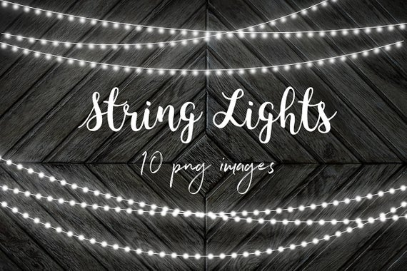 White String Lights Clip Art, Fairy Lights Overlays, Party Lights.