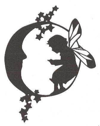 Fairy on the moon silhouette by hilemanhouse on Etsy, $1.99.