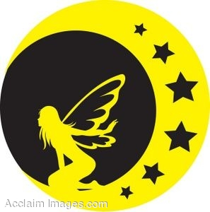 Clip Art Of A Black And Yellow Silhouette Of A Fairy On The Moon.