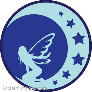 Clip Art Of A Blue Silhouette Of A Fairy On The Moon.