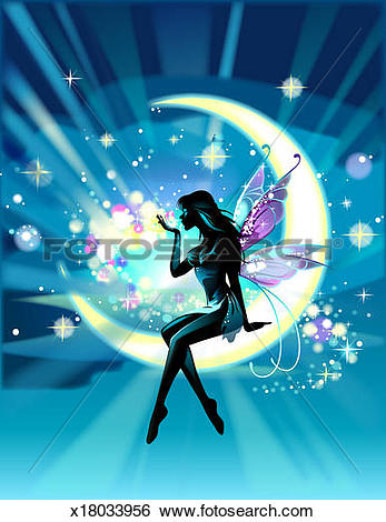 Stock Images of Fairy sitting on crescent moon, blowing moon dust.