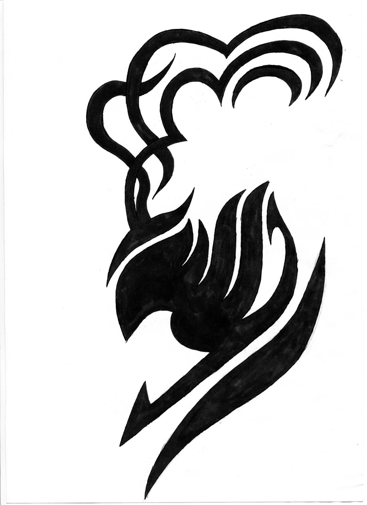 Nice Black Ink Fairy Tail With Symbol Tattoo.