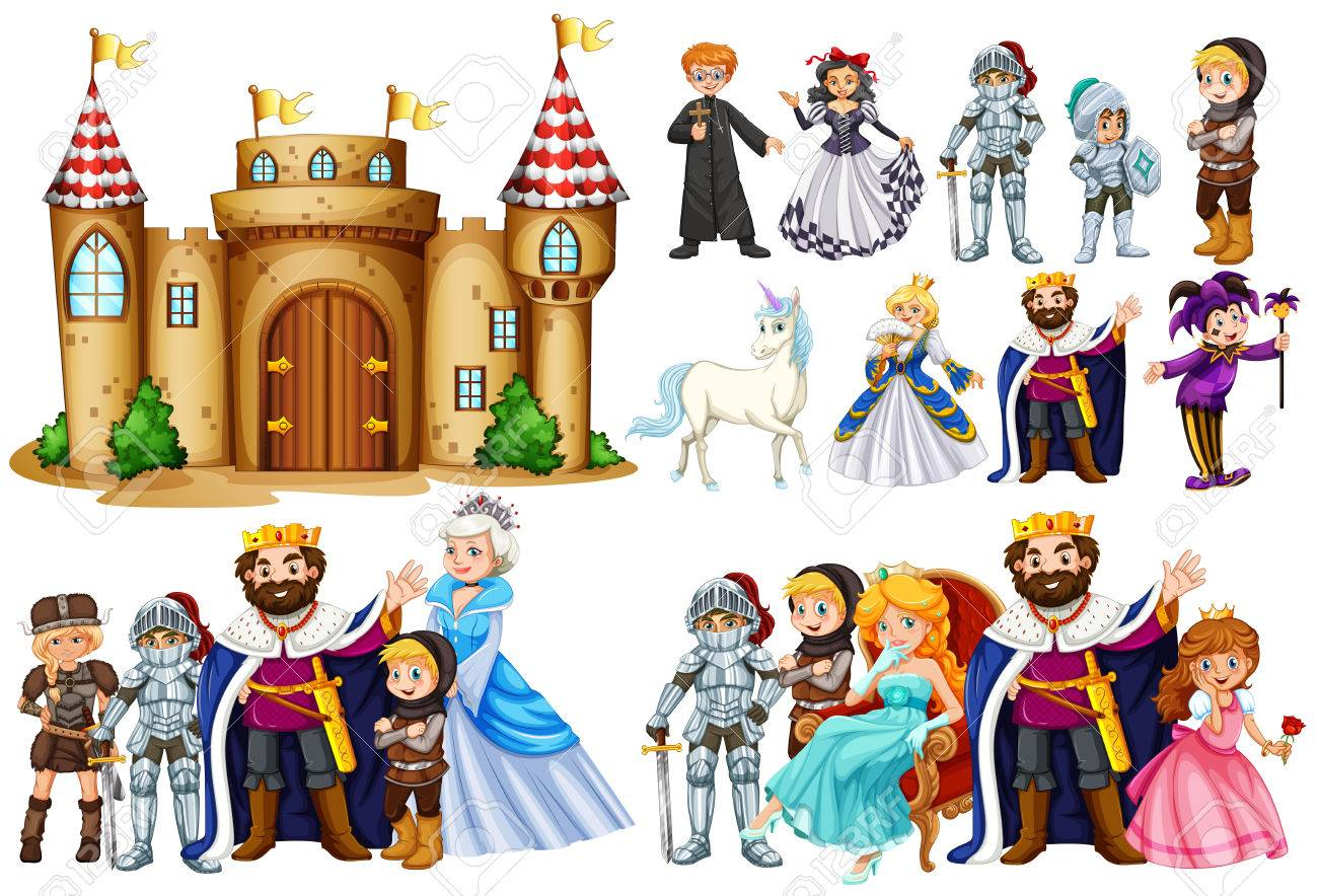 Fairytale characters and castle building illustration.
