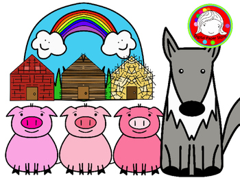 Three Tiny Pigs Fairy Tale Clipart Set (Personal & Commercial Use).