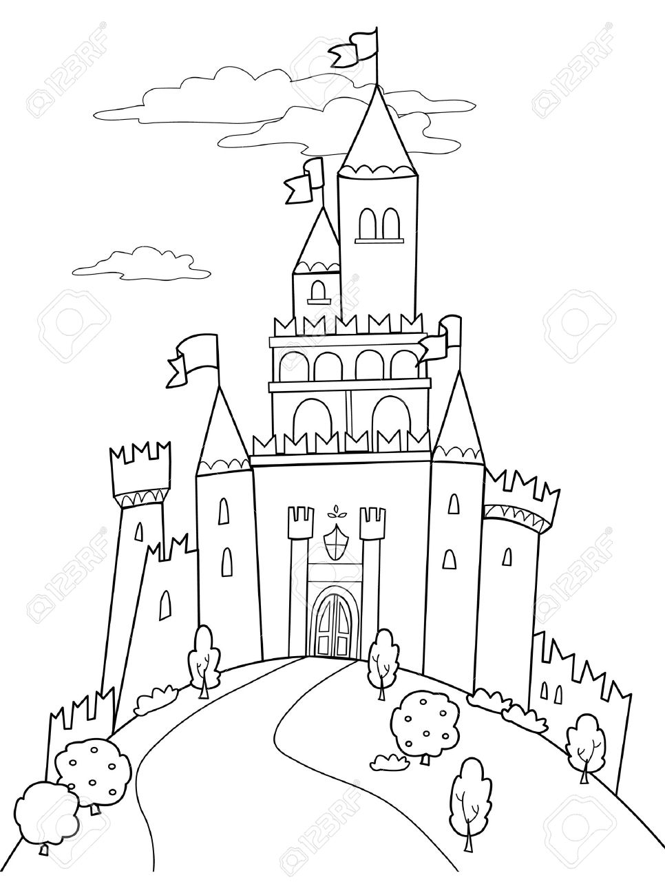 Fairy tale illustration: black and white medieval castle..