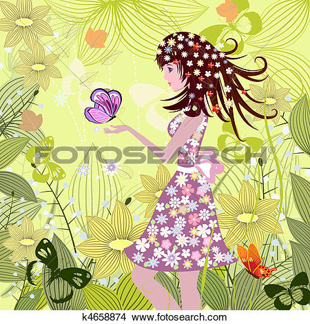 Clipart of Girl in a fairy tale forest k4658874.