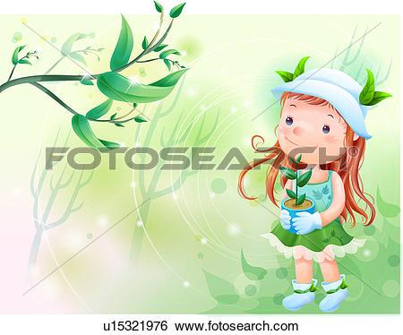 Stock Illustration of tree, fairy tale, forest, flowerpot, holding.