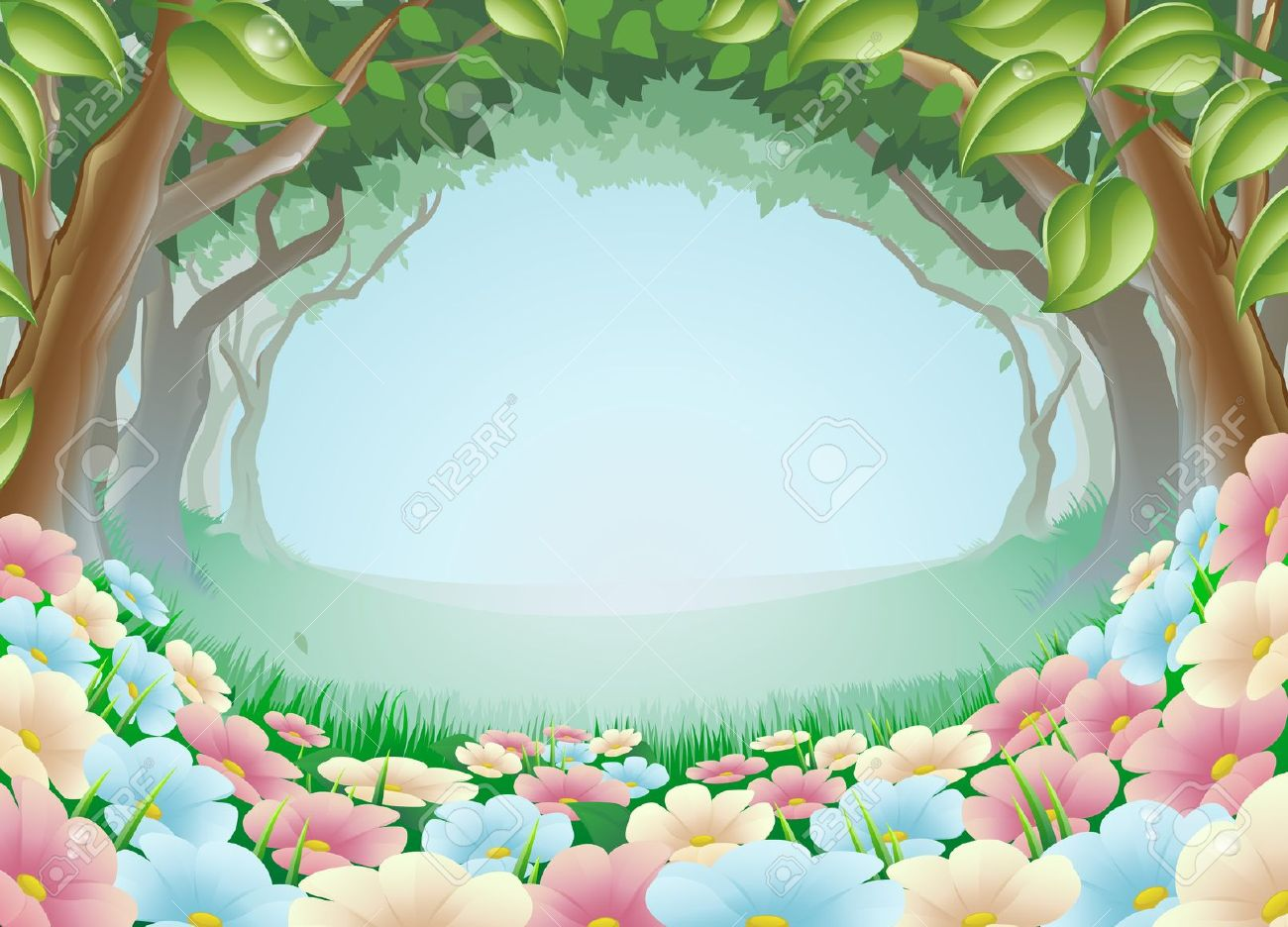 A Beautiful Fantasy Woodland Forest Scene Illustration Royalty.
