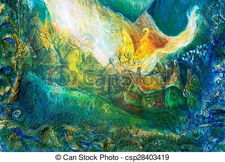 Clipart of fairy tale forest village, colorful structured painting.