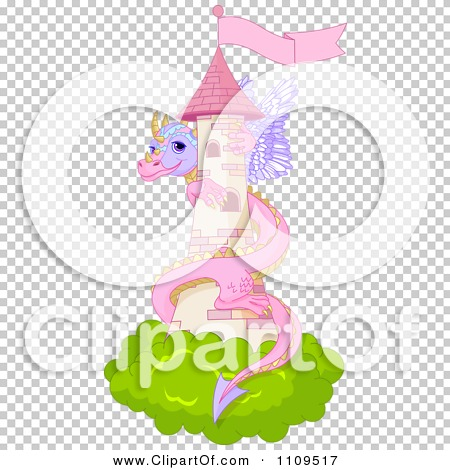 Clipart Cute Pink Dragon Guarding A Pink Fairy Tale Castle Tower.