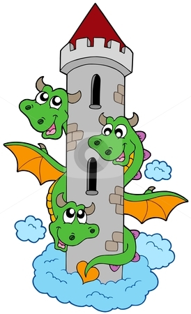 Three headed dragon with tower stock vector.