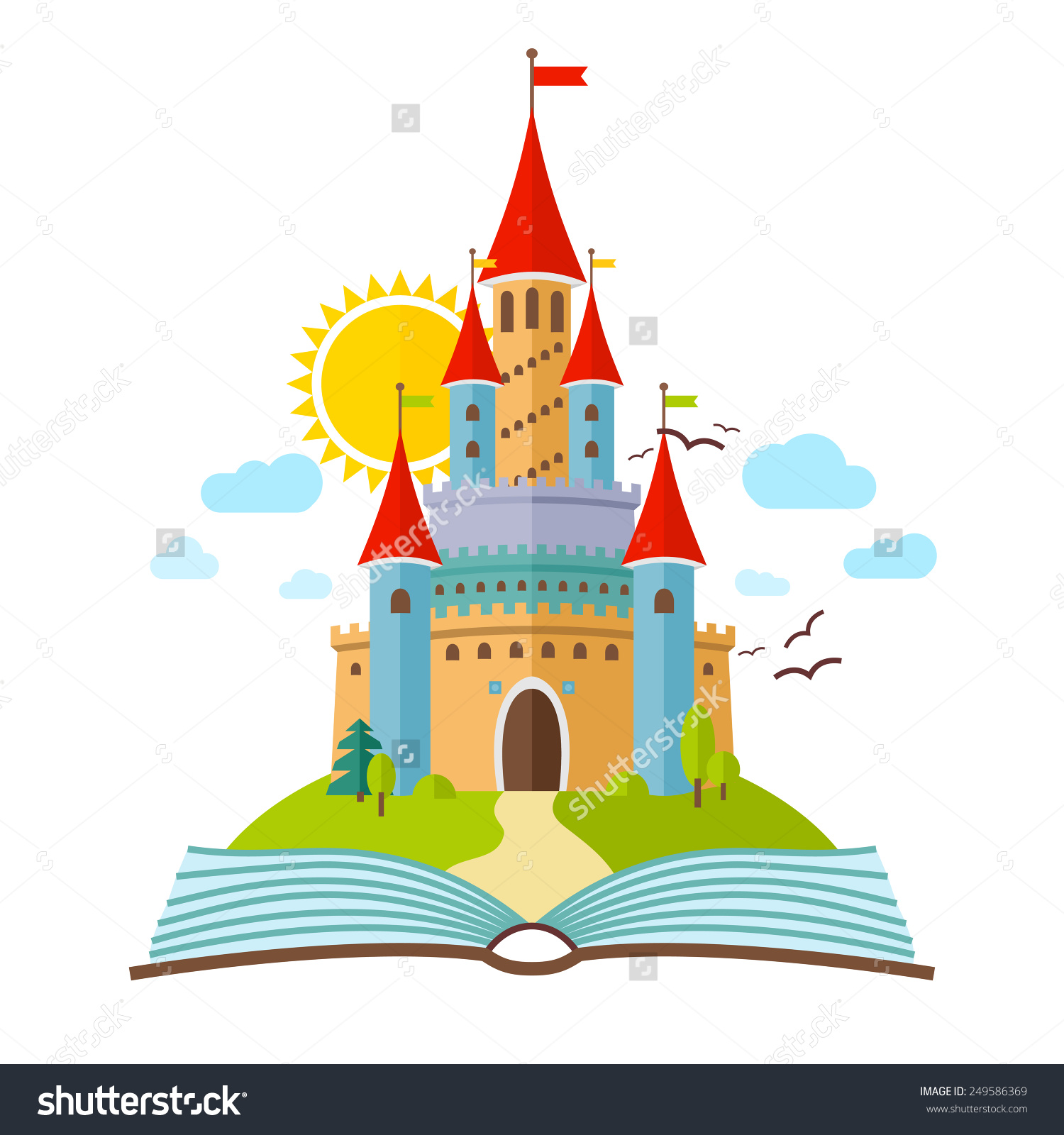 Fairytale Castle Vector Flat Child Illustration Stock Vector.