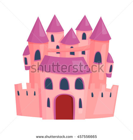 Cartoon Fairy Tale Castle Tower Icon Stock Vector Illustration.