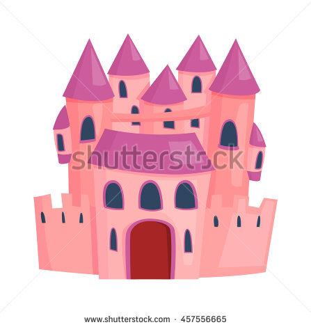Cartoon Fairy Tale Castle Tower Icon Stock Vector Illustration.