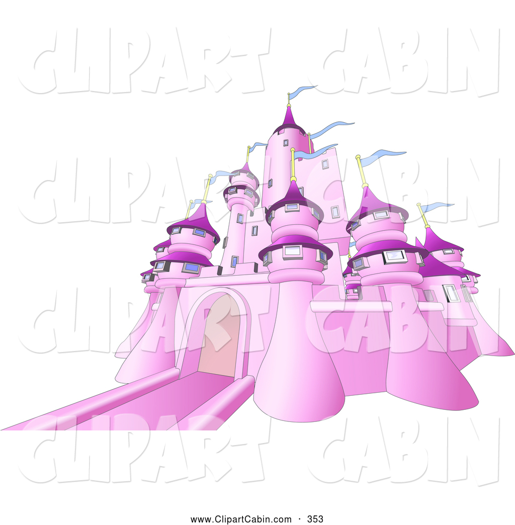 Vector Clip Art of a Pink Fairy Tale Castle with Blue Flags Waving.